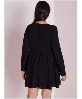 Black Plus Size V-Neck Frill Swing Full Sleeve Dress