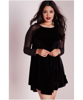 Plus Size O-Neck Velvet Raglan Full Sleeve Dress