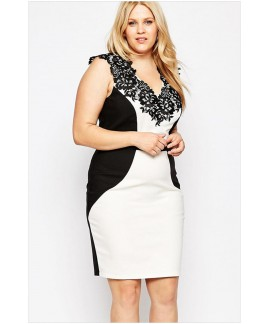 Plus Size V-Neck Sleeveless Lace Applique Pencil Dress