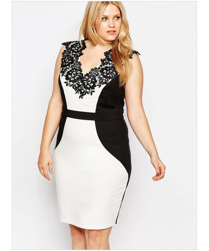 b9e9dfa180bc6 Plus Size V-Neck Sleeveless Lace Applique Pencil Dress - Sheinline