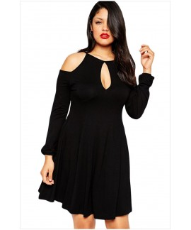 Long Sleeve O-Neck Cold Shoulder Plus Size Dress