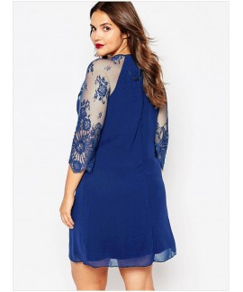 Plus Sheer Lace Raglan Sleeves Curvaceous Chiffon Shift Dress