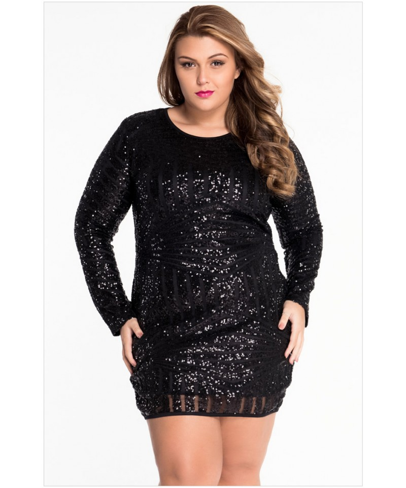 Black Plus Size O-Neck Long Sleeve Sequin Mesh Mini Dress ...