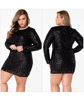Black Plus Size O-Neck Long Sleeve Sequin Mesh Mini Dress