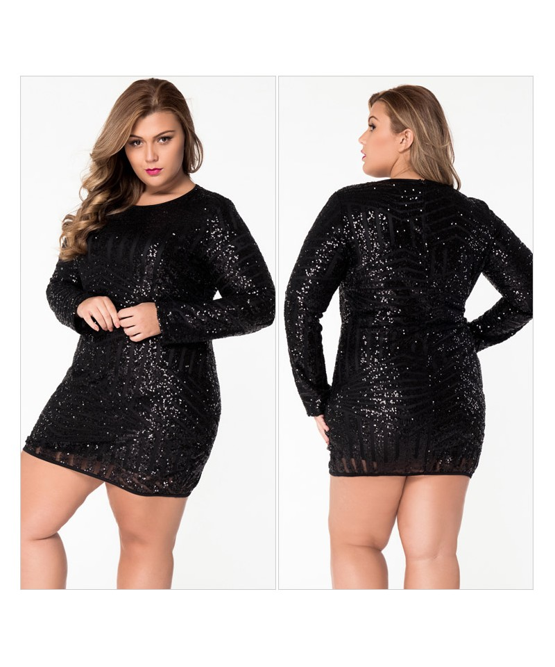 Black Plus Size O Neck Long Sleeve Sequin Mesh Mini Dress Sheinline