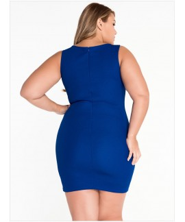 Plus Size Sleeveless Lace-up Sheath Bodycon Dress