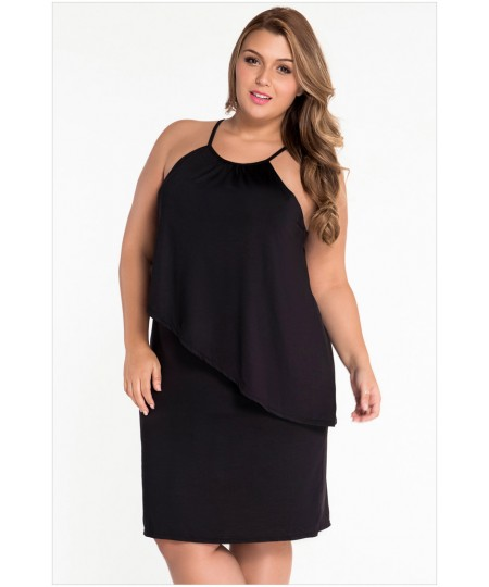 Black Plus Size Curve Tiered Sleeveless Swing Dress