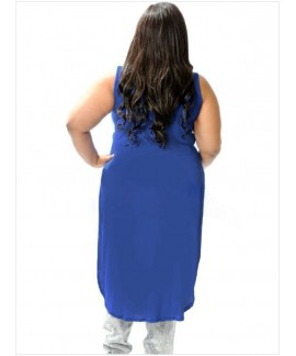 Blue Plus Size V-Neck Sleeveless Twist Front Top with Tail
