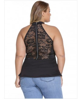 Black Lace Insert Zipped Plus Peplum Top