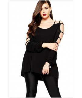 Plus Size Cut out Swing Arm Black Long Sleeve Top
