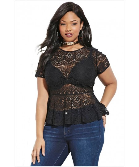 Black Plus Size Peplum Lace Short Sleeve Top