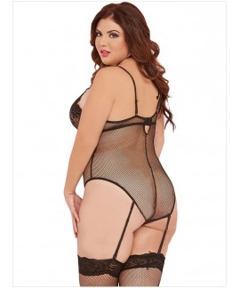 Sexy Plus Size Black Cage Teddy Lingerie