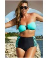 Plus Size Bandeau High Waist Bikini Swimsuit