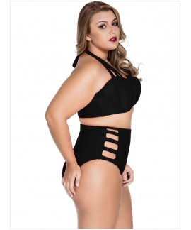 Strappy Splice Two-piece Plus Size Bikinis