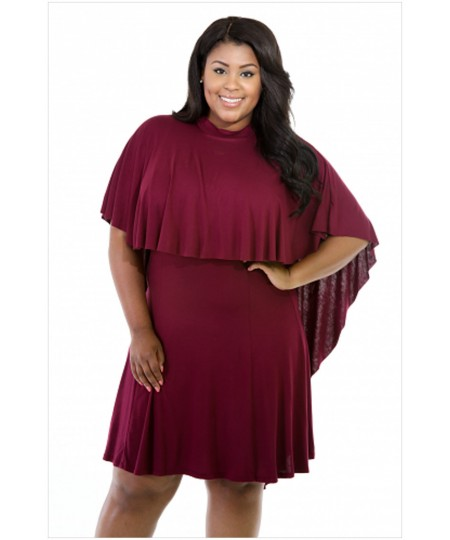 5073f8b81ec0b Plus Size Short Sleeve Cape Overlay Curvaceous O-Neck Dress - Sheinline