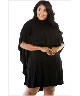 Plus Size Short Sleeve Cape Overlay Curvaceous O-Neck Dress