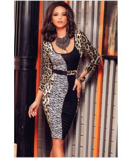 Three Quarter Sleeves Leopard Print Square Collar Midi Dress