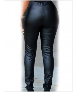 Black Vinyl & Leather Faux-leather Cut-out Knee Legging