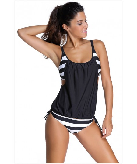 Layered Style Striped Tankini With Triangular Briefs