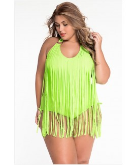 Fringe Embellished Plus Size Halter Monokini One-Piece Swimwear