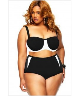 Plus Size High Waist Color Block Women Bikini