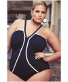 Black Strappy V-Neck Plus Size Monokini Plus Size Swimwear