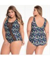 Mesh Accent Floral Print One-piece Plus Size Swimwear