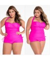 Convertible Tie Ruched Panels 2pcs Plus Size One-Piece Swimsuit