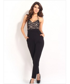 Lace Top Cross Straps Backless Party Jumpsuit