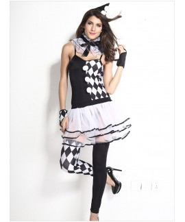 6pcs Black White Harlequin Clown Sleeveless Costume