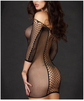 Sexy Slash Neck Seamless Fence Fishnet Chemise