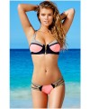 Zip Decor Color Block Royal Bikini Swimsuit
