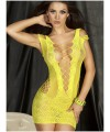 Crotchet Mesh Hollow-out Mini Chemise Dress