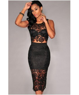 Sexy Floral Lace Skirt Set