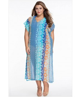 Chic Graphic Miami Beach Kaftan Poncho