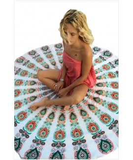 Peacock Print Boho Beach Blanket