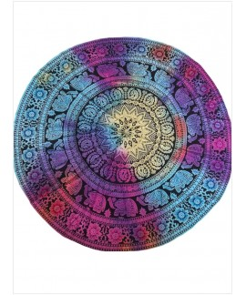 Gradient Color Mandala Roundie Round Beach Tapestry Yoga Mat