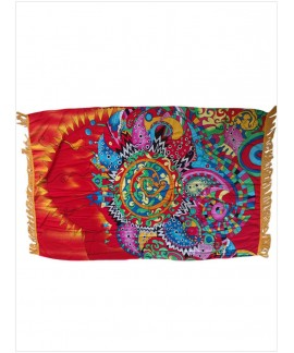 Abstract Print Square Pool Blanket with Tassel