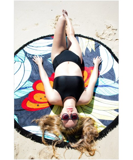 Stylish Designer Lotus Round Beach Towel