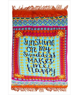 Letter printing tassel rectangular beach towel