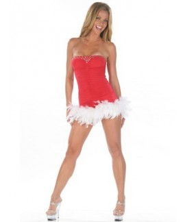 Sexy Christmas Feathers Tube Mini Dress