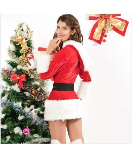 Red long-sleeved hooded girdle Christmas costume
