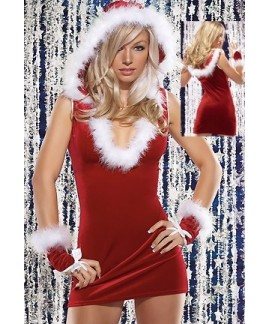 Christmas Lingerie with Hat and Gloves