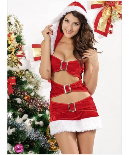 2 Pieces Tight Buckles Dress and Socks Christmas Costume