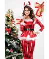 Fluffy Santa Girl Costume in Red