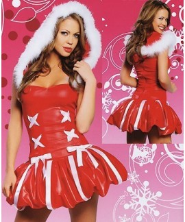 Red White Christmas costumes Bra hooded jumpsuit