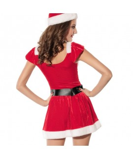 Red Christmas costumes stage clothes with hat and belt