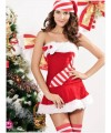 Boat neck red dress Christmas costume