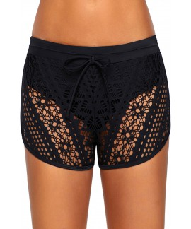 Black Sexy Hollow Out Lace Swim Short Bottom