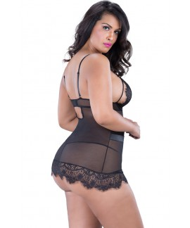 Black Plus Size Eyelash Lace Chemise